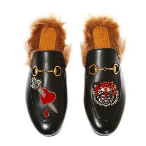 Gucci Women's Princetown Heart Sword Tiger Loafer